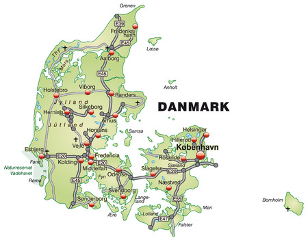 Map of Denmark with highways in pastel green