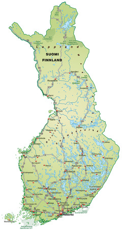 Map of Finland with highways in pastel green Vector