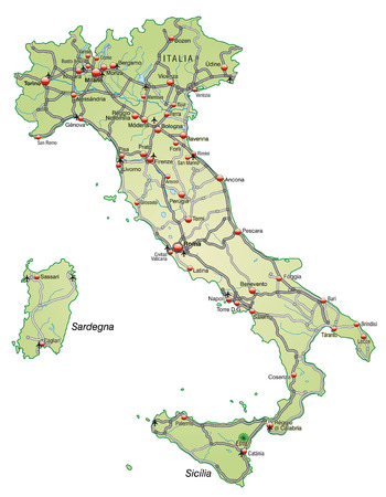 Map of Italy with highways in pastel green Vector