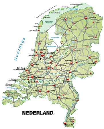 Map of Netherlands with highways in pastel green Illustration