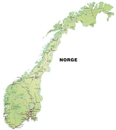 パステル グリーンの高速道路とノルウェーの地図