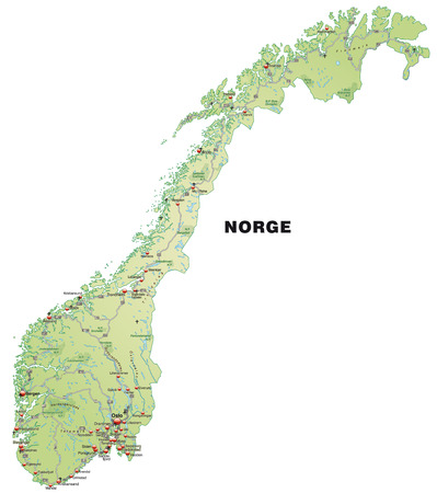 Map of Norway with highways in pastel green
