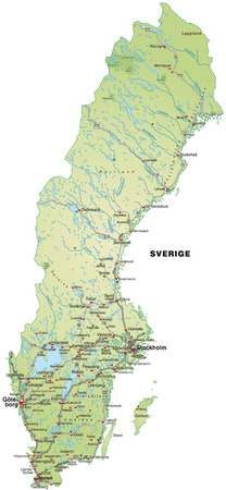 Map of Sweden with highways in pastel green