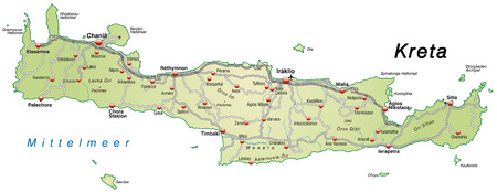 Map of Crete with highways in pastel green Vector