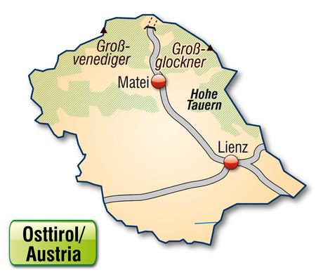 osttirol: Map of osttirol with highways in pastel orange