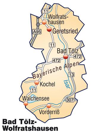 orange county: Map of Bad Toelz Wolfratshausen with highways in pastel orange