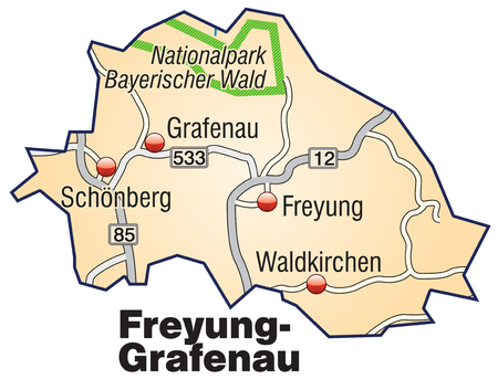 orange county: Map of Freyung Grafenau with highways in pastel orange