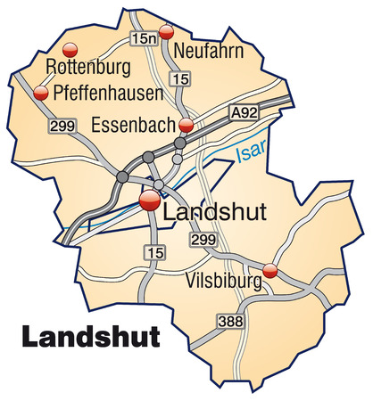 motorway: Map of landshut with highways in pastel orange