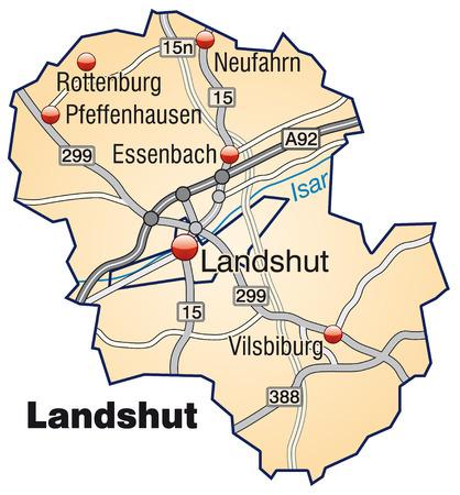 orange county: Map of landshut with highways in pastel orange