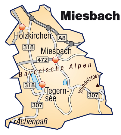 lake district: Map of miesbach with highways in pastel orange Illustration