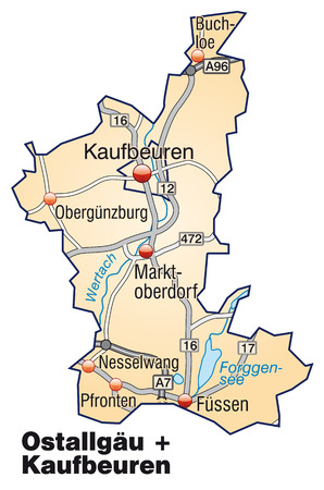 geographically: Map of Ostallgaeu Kaufbeuren with highways in pastel orange