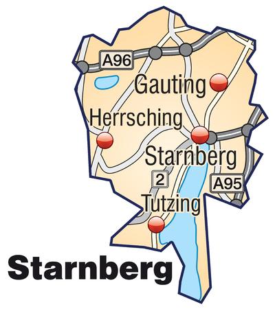 orange county: Map of starnberg with highways in pastel orange