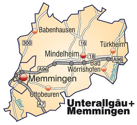 orange county: Map of Unterallgaeu Memmingen with highways in pastel orange