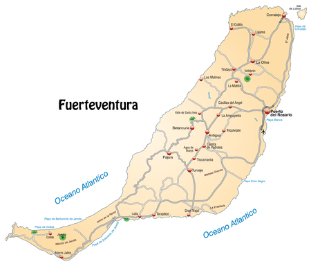 geographically: Map of fuerteventura with highways in pastel orange