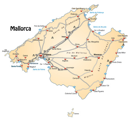 geographically: Map of mallorca with highways in pastel orange