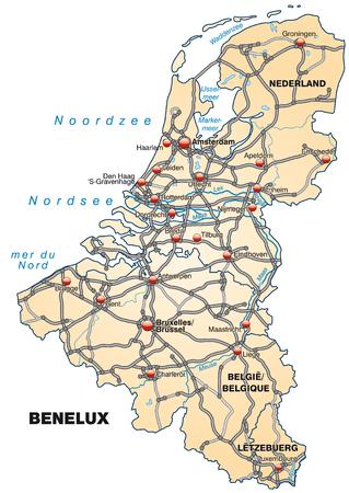 Kaart van de Benelux met snelwegen in pastel oranje Stock Illustratie