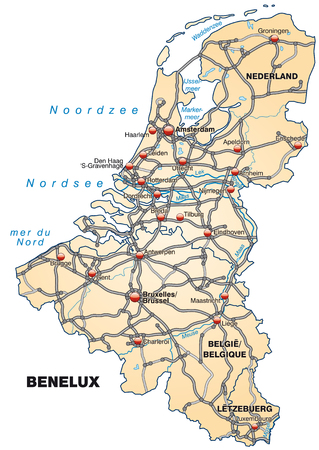 haarlem: Map of Benelux with highways in pastel orange