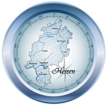 青の概要マップとしてヘッセン州の地図