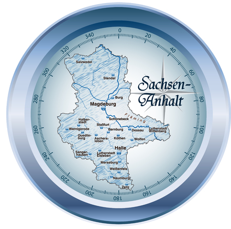 lasting: Map of Saxony-Anhalt as an overview map in blue