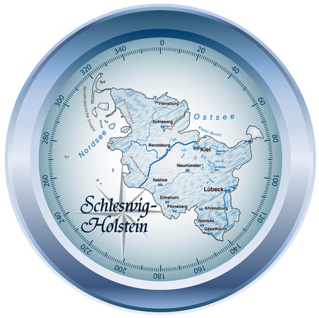 holstein: Map of Schleswig-Holstein as an overview map in blue