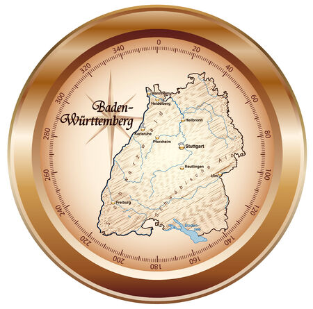 overview: Map of Baden-Wuerttemberg as an overview map in bronze Illustration