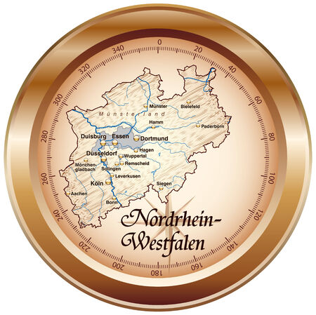 north rhine westphalia: Map of North Rhine-Westphalia as an overview map in bronze