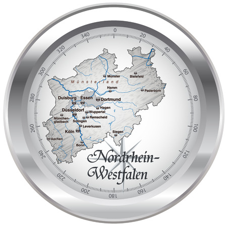 north rhine westphalia: Map of North Rhine-Westphalia as an overview map in chrome