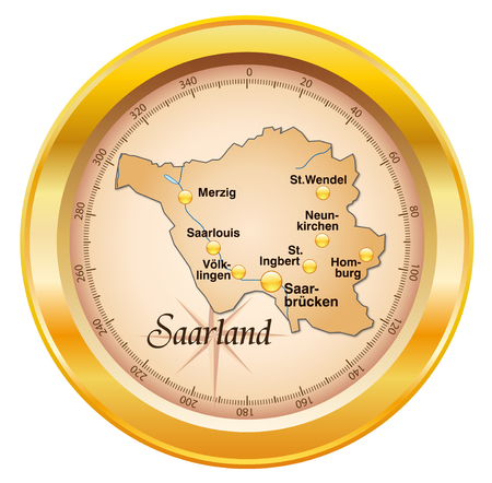 cartographer: Map of Saarland as an overview map in gold Illustration
