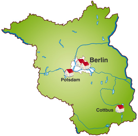 falkensee: Map of Brandenburg as an infographic in green Illustration