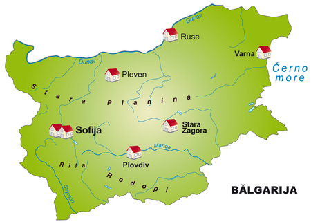 Map of Bulgaria as an infographic in green