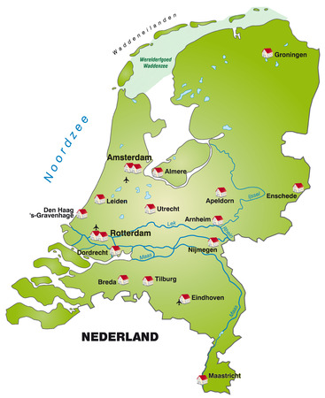 haarlem: Map of Netherlands as an infographic in green Illustration