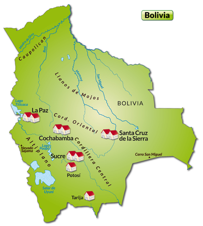 cochabamba: Map of Bolivia as an infographic in green