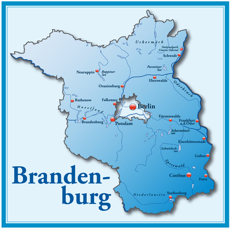 Map of Brandenburg as an overview map in blue Vector