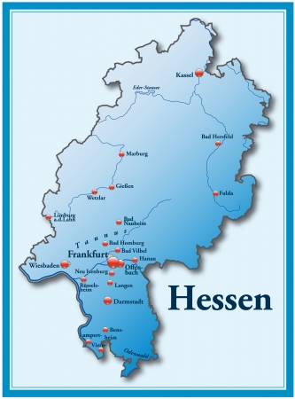 frankfurt: Map of Hesse as an overview map in blue Illustration