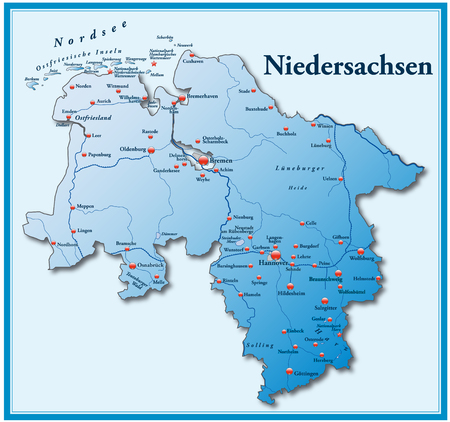 Map of Lower Saxony as an overview map in blue Vector