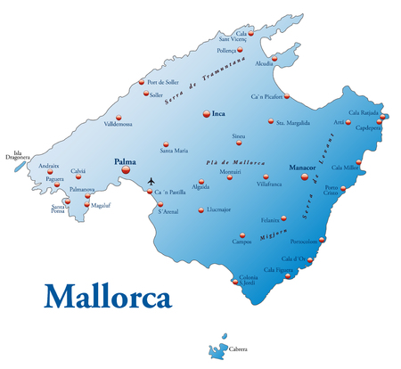 overview: Map of mallorca as an overview map in blue