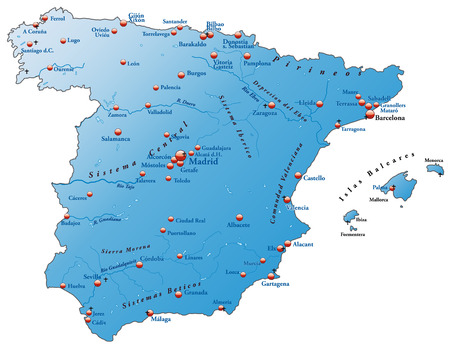 bilbao: Map of Spain as an overview map in blue