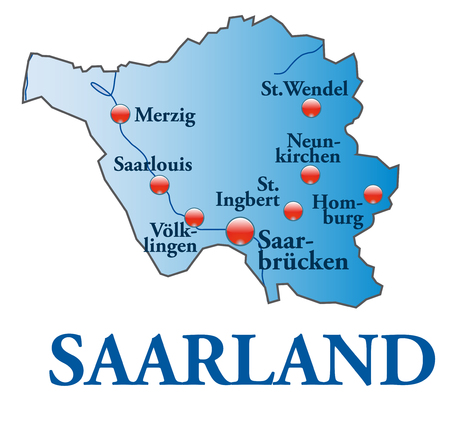 saarlouis: Map of Saarland as an overview map in blue Illustration