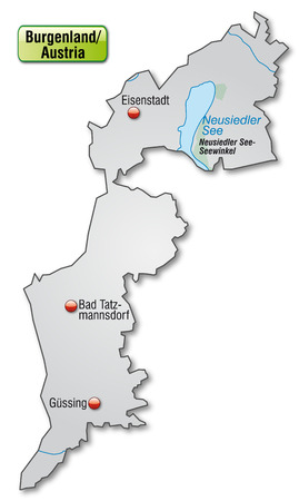 canton: Map of Burgenland as an overview map in gray