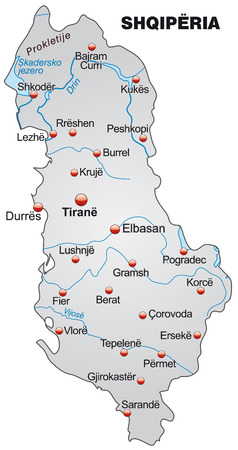 albanie: Carte de l'Albanie une carte d'ensemble en gris Illustration