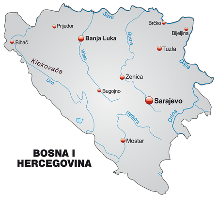 tuzla: Map of Bosnia and Herzegovina as an overview map in gray