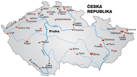 czechia: Map of Czech Republic as an overview map in gray Illustration