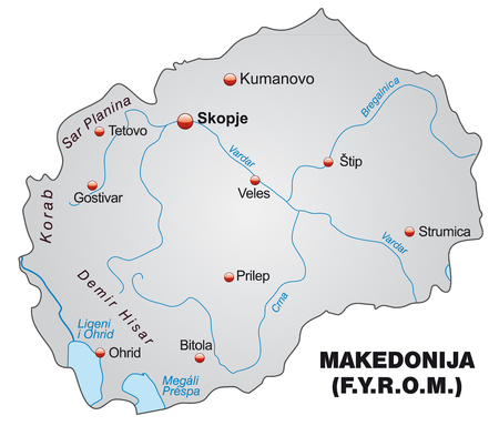 overview: Map of Macedonia as an overview map in gray Illustration