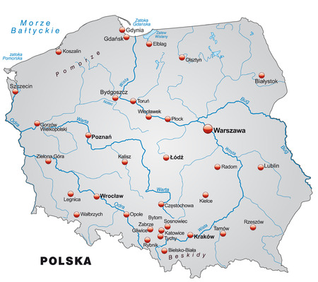 Map of Poland as an overview map in gray Ilustracja