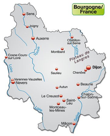 Map of Burgundy as an overview map in gray