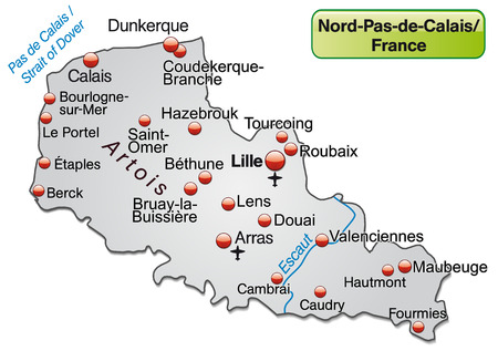 lille: Map of North-pas-de-calais as an overview map in gray Illustration