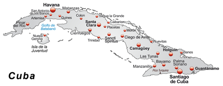 guantanamo: Map of Cuba as an overview map in gray Illustration