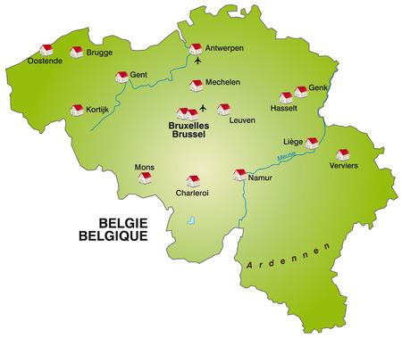Kaart van België als een infographic in het groen Vector Illustratie