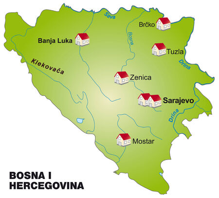 Map of Bosnia and Herzegovina as an infographic in green Illustration