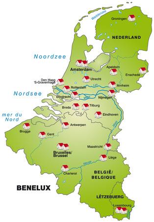 Kaart van de Benelux als een infographic in groen